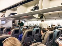 Passengers in the aeroplane Stock Photography
