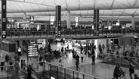 Passengers in the airport main lobby in Hong Kong Royalty Free Stock Photography