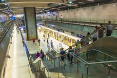 Passengers alighting the metro Royalty Free Stock Photo