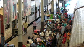 Passengers alighting from train, Colombo Railway Station, Colombo stock footage