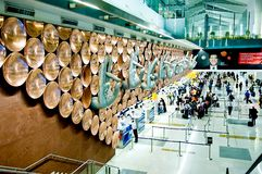 Passengers arrive at check-in counters at Indira Gandhi International Airport Royalty Free Stock Images