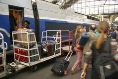 Passengers arrive Gare de Lyon Stock Images