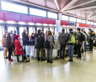 Passengers at the Baggage Carousel at the Airport Tegel Stock Images