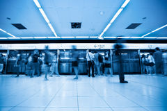 Passengers in beijing subway station Royalty Free Stock Photography