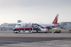 Passengers board the aircraft Boeing 757 Vim airlines Stock Images