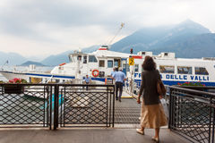 Passengers board hydrofoil ferry Stock Images