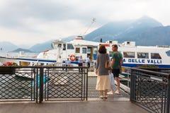 Passengers board hydrofoil ferry Stock Photo