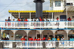 Passengers on board the Paddlewheeler Creole Queen in New Orleans Stock Images