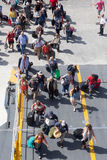 Passengers board the ship at the port of Paros in Greece. Stock Photography
