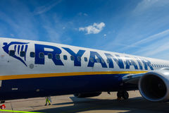 Passengers boarding on the aircraft of low cost airline company Ryanair Stock Image
