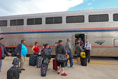 Passengers boarding an Amtrak train Royalty Free Stock Image