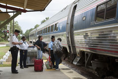 Passengers boarding Amtrak train USA Royalty Free Stock Images