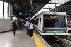 Train headed to Niquia on the Industriales station. Metro de Medellin, Colombia stock photography