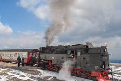 Passengers boarding the historic steam train in the Harz Stock Image