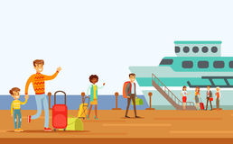 Passengers Boarding Large Ship, Part Of People Taking Different Transport Types Series Of Cartoon Scenes With Happy Royalty Free Stock Images