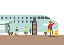 Passengers Boarding A Plane, Part Of People Taking Different Transport Types Series Of Cartoon Scenes With Happy Stock Photos
