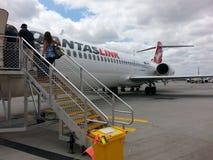 Passengers  Boarding qantas plane at Perth airport Royalty Free Stock Photo