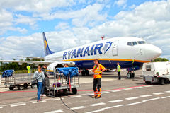 Passengers boarding Ryanair flight in Vilnius, Lithuania. Royalty Free Stock Image