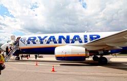 Passengers boarding Ryanair flight in Vilnius, Lithuania. Stock Photography