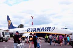 Passengers boarding Ryanair flight Royalty Free Stock Photos