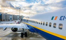 Passengers boarding Ryanair Jet airplane Royalty Free Stock Photography