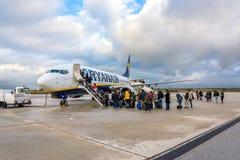 Passengers boarding Ryanair Jet airplane Stock Photos