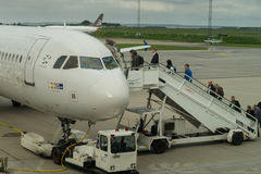Passengers boarding scandinavian SAS airplane Royalty Free Stock Photography