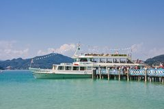 Passengers boarding on ship. Klagenfurt. Worthersee. Austria Royalty Free Stock Photos