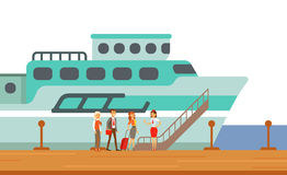 Passengers Boarding Touristic Liner Ship, Part Of People Taking Different Transport Types Series Of Cartoon Scenes With Stock Photos
