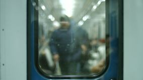 Passengers boarding the train. stock video footage