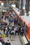 At Hamburg`s Main Railway Station. Passengers boarding a train at Hamburg`s Main Railway Station Hauptbahnhof, Hamburg, Germany Royalty Free Stock Photos