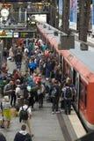 Passengers at Hamburg`s Main Railway Station. Passengers boarding a train at Hamburg`s Main Railway Station Hauptbahnhof, Hamburg, Germany Stock Photos