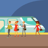 Passengers Boarding A Train At The Platform, Part Of People Taking Different Transport Types Series Of Cartoon Scenes. With Happy Travelers. Travelling With Royalty Free Stock Photo