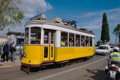 Passengers boarding the tram stop Royalty Free Stock Images
