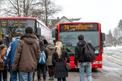 Passengers on bus stop entering arrived modern Hohenschwangau ca royalty free stock image