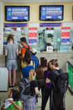 Passengers buy train tickets at Bangkok Thailand train station. Stock Photos
