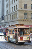 Passengers in a cable car at San Francisco Royalty Free Stock Images