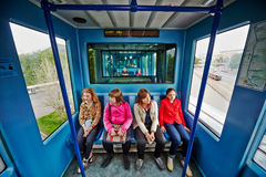 Passengers in carrieges of train of Moscow monorail system Royalty Free Stock Photography