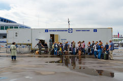 Passengers on checkpoint of Northern River Station, Moscow, Russ Stock Photo