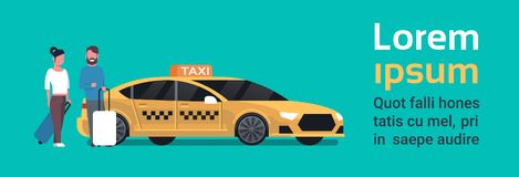 Passengers Couple Order Yellow Taxi Service Sit In Car Cab Over Background With Copy Space. Flat Vector Illustration Stock Photos