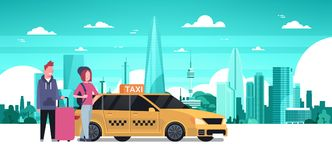 Passengers Couple Order Yellow Taxi Service Sit In Car Cab Over Silhouette City Background. Flat Vector Illustration Royalty Free Stock Photo