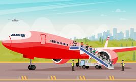 Passengers Crawl Out Ladder Flat Illustration. Vector Background Buildings Big City. Men and Women in Casual Wear Rejoice Successful Landing and get Off Ladder vector illustration