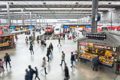 Passengers crowded on the platform of Hauptbahnhof, the main rai Royalty Free Stock Images