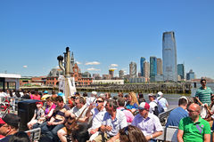 Passengers on Cruise Leaving Liberty State Park Royalty Free Stock Images