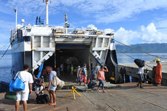 Passengers departing of inter island ferry in Fiji Stock Images