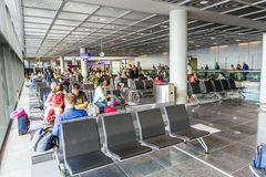 Passengers in the departure hall in the Frankfurt airport Stock Photos