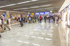 Passengers in the Departure Hall of Frankfurt International Airport Stock Photos
