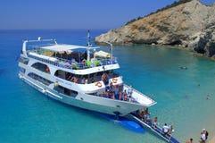 Passengers disembark at Porto Katsiki beach Stock Photography