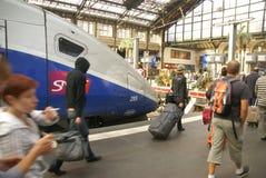 Passengers disembark the TGV Royalty Free Stock Photos