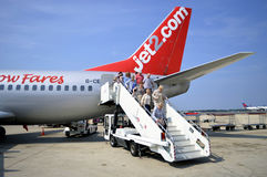 Passengers disembarking form a Jet2.com Airbus A320 aircraft Stock Images